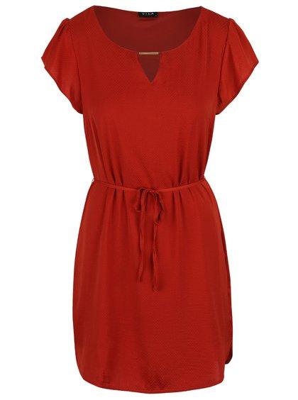 Rochie VILA Siba roșie cu detaliu auriu