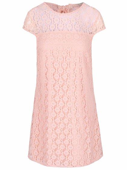 Svetloružové čipkované šaty Miss Selfridge