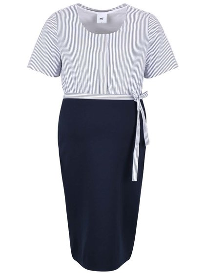 Bílo-modré pruhované těhotenské šaty Mama.licious Mojo Lia