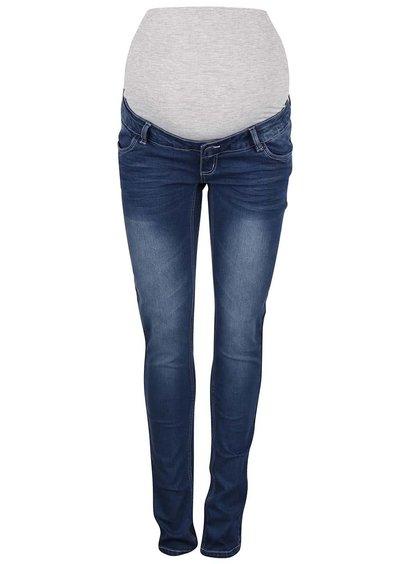 Modré těhotenské skinny džíny s opraným efektem Mama.licious Lida