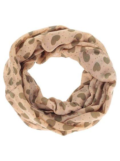 Hnědý dutý šátek se srdíčky Pieces Bine