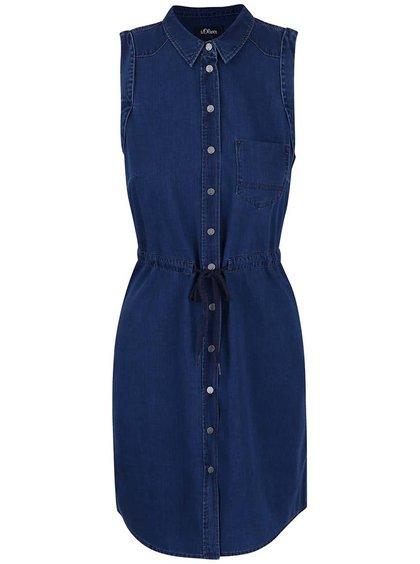 Tmavomodré rifľové prepínacie šaty košeľového typu s.Oliver