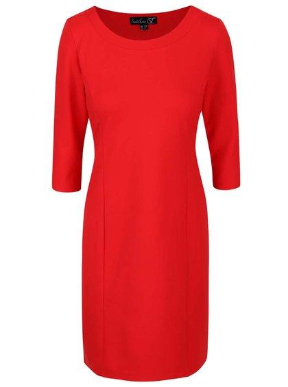 Červené šaty s 3/4 rukávom Smashed Lemon