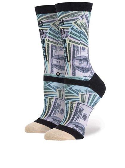 Fialovo-čierne dámske ponožky s potlačou bankoviek Stance One Dolla