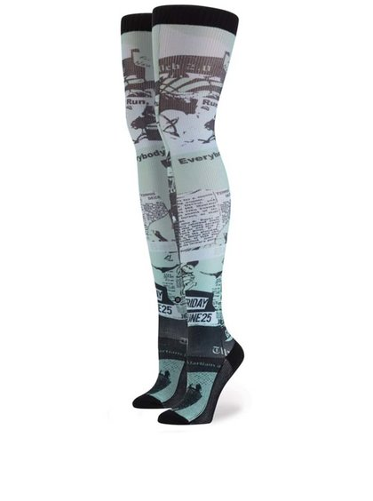 Ciorapi 3/4 Stance Most Wanted Thigh High negri cu imprimeu