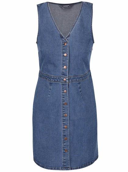 Modré rifľové šaty na zapínanie bez rukávov Dorothy Perkins