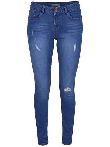 Modré skinny džíny s odrbaným efektem Dorothy Perkins