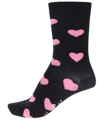 Șosete negre cu inimioare pentru femei Happy Socks Heart