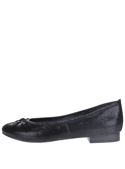 Černé kožené baleríny s jemným lesklým vzorem Tamaris