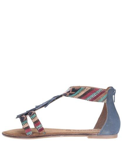 Modré kožené sandále s farebnými vzormi Tamaris