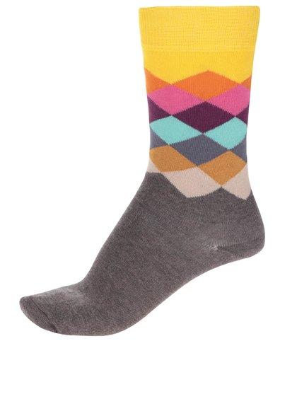 Žlto-hnedé unisex ponožky Happy Socks Faded