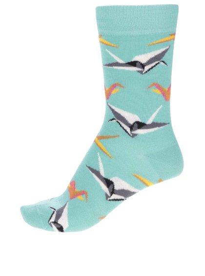 Șosete verzi cu imprimeu Happy Socks Origami pentru fete