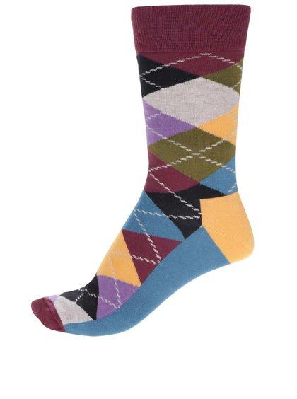 Červeno-modré unisex kárované ponožky Happy Socks Argyle