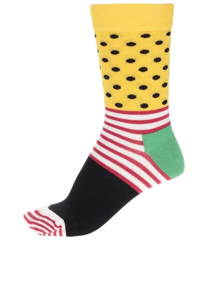 Černo-žluté dámské ponožky Happy Socks Stripe Dot
