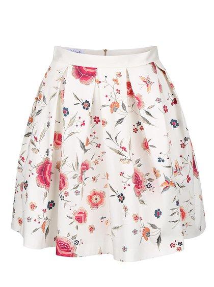 Krémová květovaná sukně se sklady Closet