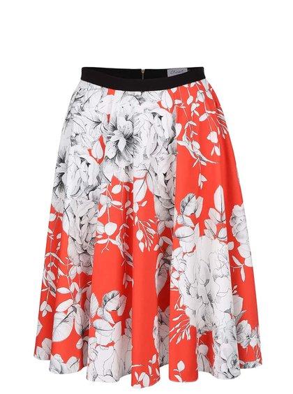 Červená midi sukně s bílými květy Closet