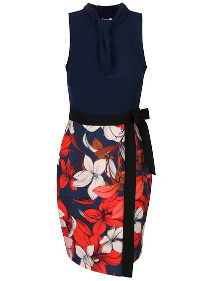 Červeno-modré kvetované šaty so zavinovacou sukňou Closet