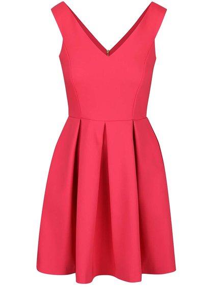 Růžové šaty s véčkovým výstřihem Closet