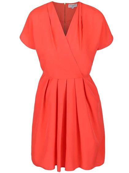 Koralové šaty so skladanou sukňou Closet