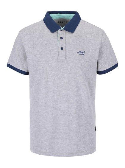 Šedé žíhané polo triko s tmavě modrými detaily Blend