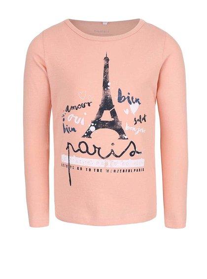 Meruňkové holčičí tričko s dlouhým rukávem name it Veen
