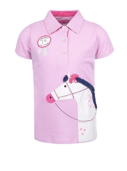 Ružová dievčenská polokošeľa s výšivkou koňa Tom Joule Moxie