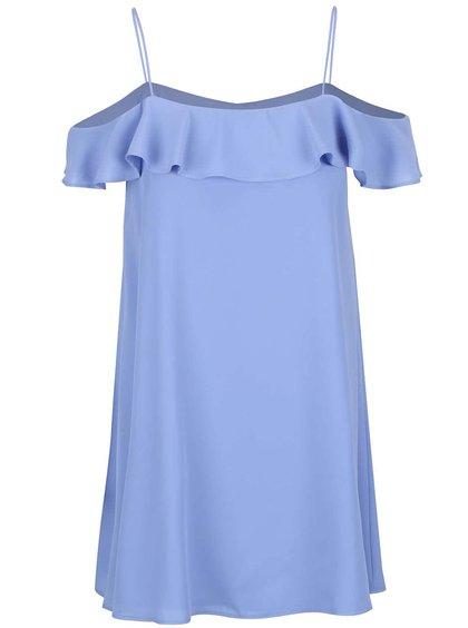 Svetlomodré voľnejšie šaty s odhalenými ramenami Miss Selfridge