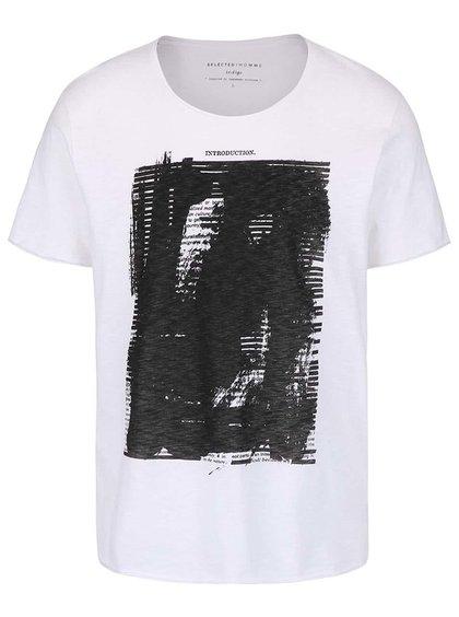 Bílé triko s potiskem Selected Homme Deep Intro