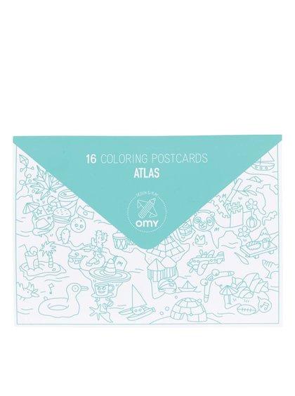 Súprava šestnástich vymaľovávacích pohľadníc Atlas OMY
