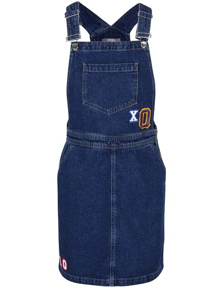 Modré rifľové šaty na traky s nášivkami Dorothy Perkins