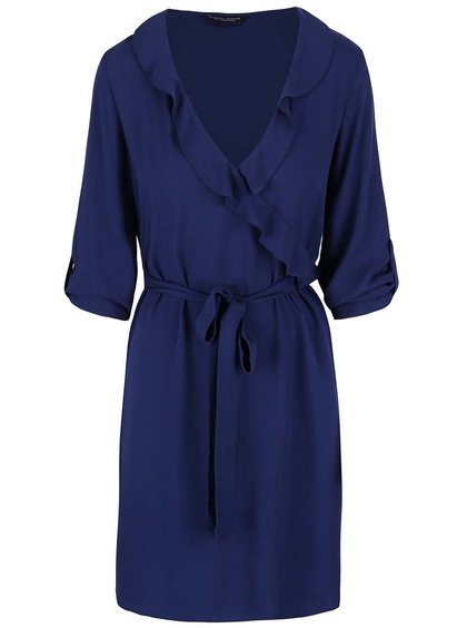 Tmavomodré šaty s volánikovým výstrihom Dorothy Perkins