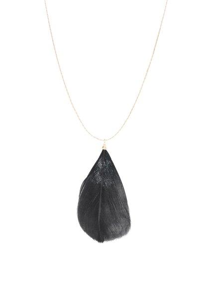Dlouhý náhrdelník ve zlaté barvě s černým pírkem Pieces Plini
