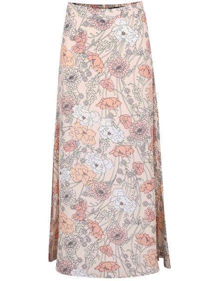 Pudrovoružová kvetovaná maxisukňa s vyšším pásom Dorothy Perkins
