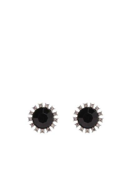 Čierne náušnice s kamienkami Pieces Pinna