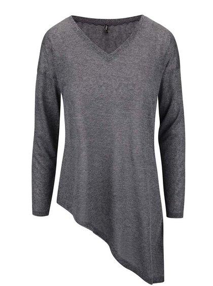 Tmavosivé asymetrické tričko s dlhým rukávom ONLY Hanna