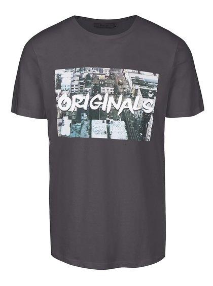 Sivé tričko s potlačou Jack & Jones Roli