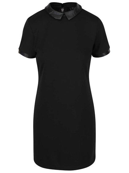 Čierne šaty s koženkovým golierikom VILA Tinny