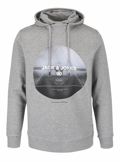 Hanorac gri Jack & Jones Oxcom cu print