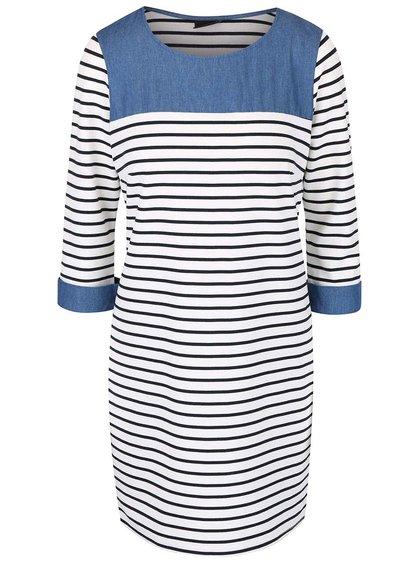 Krémové pruhované šaty s džínovými detaily VILA Tinny