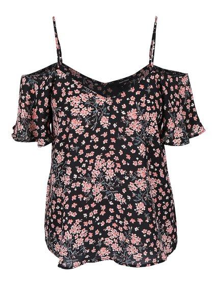Černá květovaná halenka s odhalenými rameny TALLY WEiJL Petop