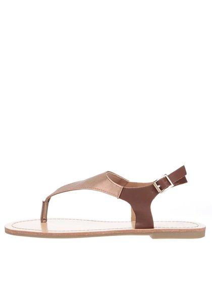 Hnedé metalické remienkové sandálky TALLY WEiJL
