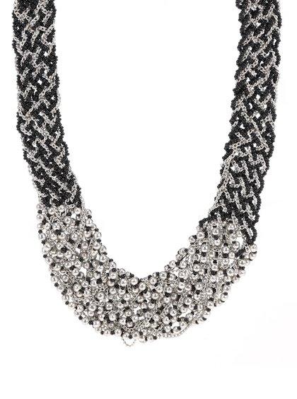 Colier negru cu argintiu Pieces Pina tip împletitură