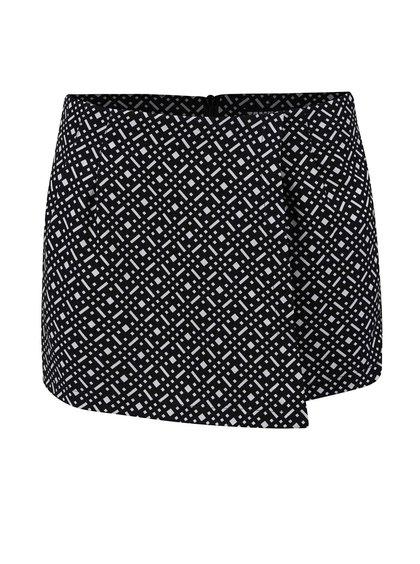 Fustă pantalon neagră cu alb TALLY WEiJL cu model geometric