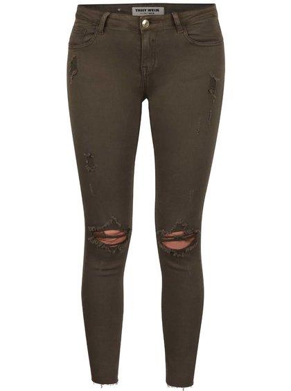 Khaki skinny džíny s potrhaným efektem TALLY WEiJL