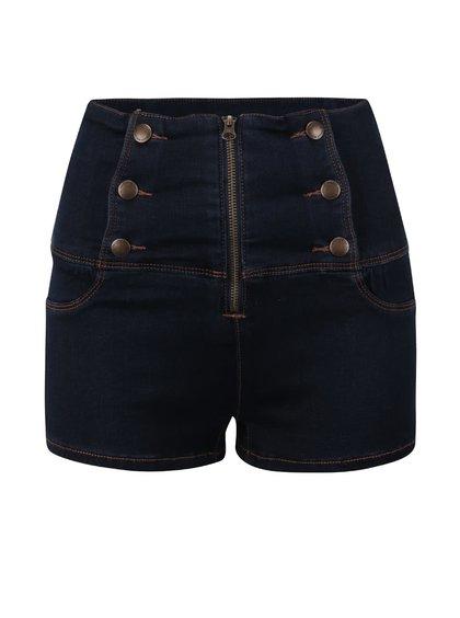 Modré džínové kraťasy s ozdobným zipem a knoflíky TALLY WEiJL