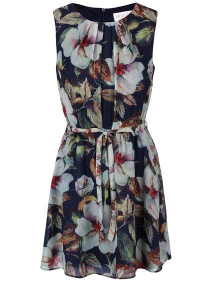 Tmavomodré šaty s kvetmi Apricot