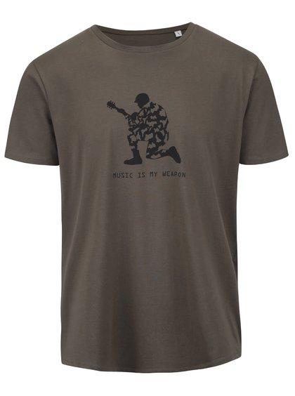 Kaki pánske tričko s potlačou ZOOT Originál Music Is My Weapon