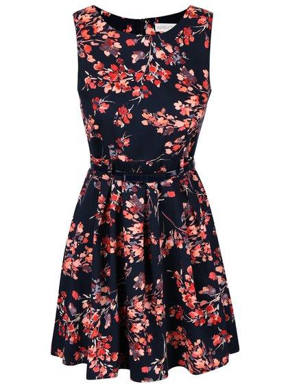Tmavomodré kvetované šaty s opaskom Apricot