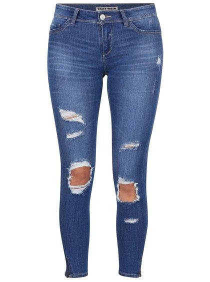 Tmavě modré skinny džíny s roztrhaným efektem TALLY WEiJL