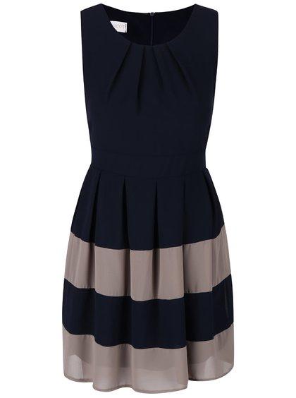 Tmavomodré šaty s hnedými pruhmi Apricot
